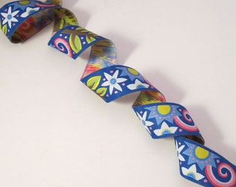 Blue and Pink Blue Bouquet Design Polyester Jacquard Ribbon--One Yard