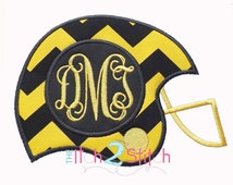 """Football Helmet Monogram Applique Design Sizes 4x4, 5x7 and 6x10, shown with """"Intertwined"""" Font NOT Included, INSTANT DOWNLOAD"""