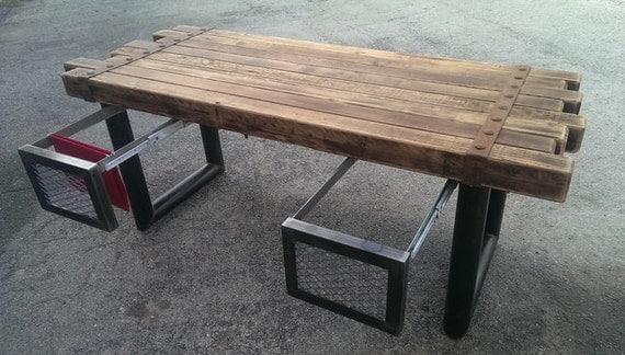 Cedar & Steel Rustic Industrial Desk 039 Industrial Style