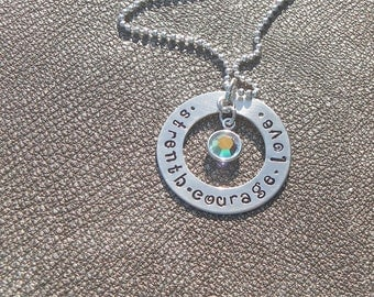 Strength Courage Love - Hand Stamped Sterling Silver Necklace with a Swarovski Crystal - Gifts for Her