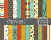 Autumn Digital Paper Pack - Personal and Commercial Use - Crisp Fall