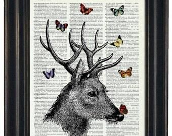 BOGO SALE Dictionary Prints Deer Dictionary Art Print Deer and Butterflies Print Dictionary Art Dictionary Print HHP Original
