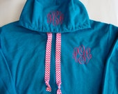 Monogrammed Hoodie with chevron ribbon