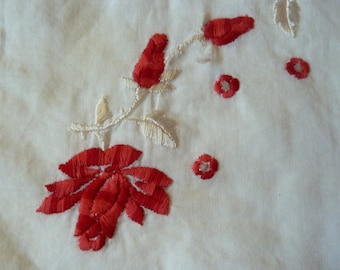 Vintage light white hankie with red and white embroidered flowers