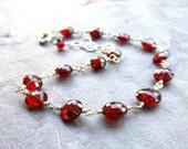 Garnet Bracelet Red Crimson Coin Gemstone Bracelet Wire Wrapped, Sterling Silver