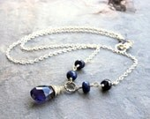 Iolite Sapphire Necklace September Birthstone Sterling Silver Blue Teardrop Gemstone Necklace