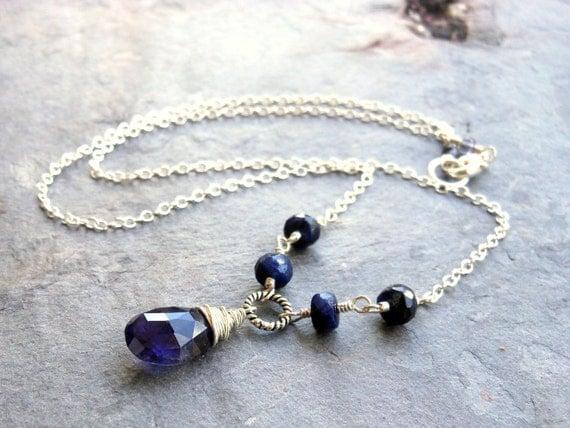 Iolite Sapphire Necklace September Birthstone Sterling Silver Blue Teardrop Gemstone Necklace
