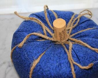 Blue Fabric Pumpkin-Plush Pumpkin-Cottage Chic Decor-Autumn Decor-Thanksgiving Decor-Rustic Home Decor-Fall Decor-Stuffed Fabric Pumpkin