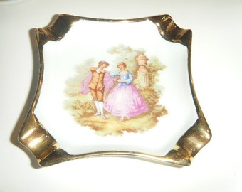 Bardet Limoges Miniature Romantic Couple Scene Square plate