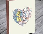 Seattle Washington Art City Heart Map - Wood Block Art Print