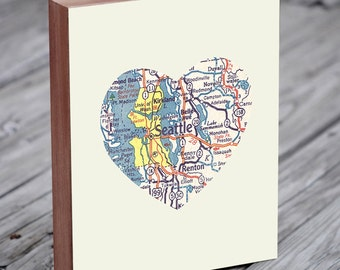 Seattle Art - Seattle Map - Seattle Washington Art City Heart Map - Wood Block Art Print