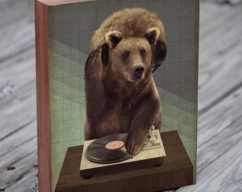DJ Gifts - DJ Art - Turntable Art - The Bear DJ - Wood Block Wall Art Print - Turntable Art Print