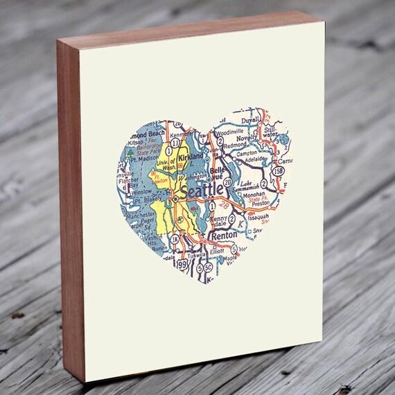 Seattle Art - Seattle Map - Seattle Washington Art City Heart Map - Wood Block Art Print