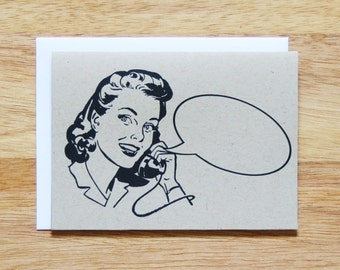 Retro Woman Word Bubble Greeting Card
