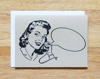 Retro Woman Word Bubble Greeting Card
