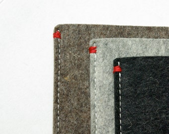 IPAD AIR Cover felt - in grey black or brown - Dutch Handmade - red detail