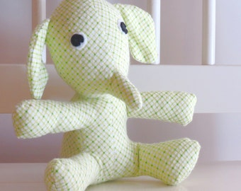 Green Diamond Plaid flannel baby elephant stuffed animal