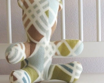 Geometric Green, Teal and Cream fleece Teddy Bear