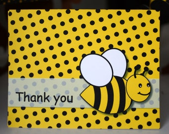 Bumble BEE Birthday Party THANK YOU Card, Bumble Bee Baby Shower, Honey Bee Party Decorations, Bug Theme Birthday