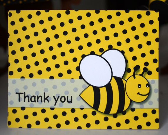 Bumble BEE Birthday Party THANK YOU Card Bee Baby