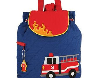 SHIPS NEXT DAY--Personalized Monogrammed --New Pattern-- Stephen Joseph Kid Quilted Fire Truck Backpack--Free Monogramming--