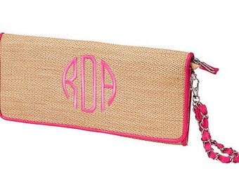 SALE -- Monogrammed Woven Island Clutch with Hot Pink Trim Fast Turnaround---FREE MONOGRAMMING---