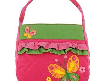 Monogrammed Stephen Joseph Quilted Ruffled Butterfly Purse---Fast Turnaround---FREE MONOGRAMMING---