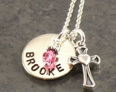 Hand Stamped Girl's Cross Necklace - Personalized Cross Jewerly - Great for Confirmation, First Communion, Baptism and Flower Girls Jewelry