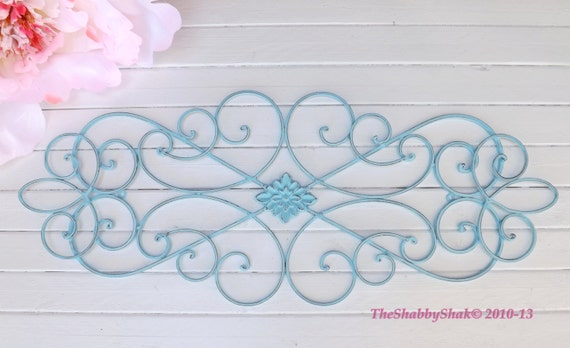 Aqua Wrought Iron  Wall Decor / Iron Wall Decor / Wrought Iron / Indoor / Outdoor / Shabby Chic Decor / Bedroom Wall Decor / Kitchen Decor