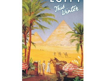 EGYPT 7- Handmade Leather Postcard / Note Card / Fridge Magnet - Travel Art