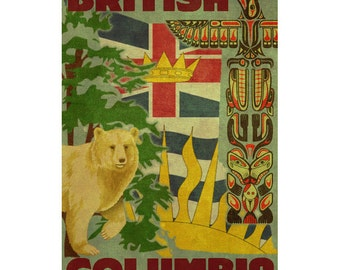 BRITISH COLUMBIA 1F- Handmade Leather Postcard / Note Card / Fridge Magnet - Travel Art