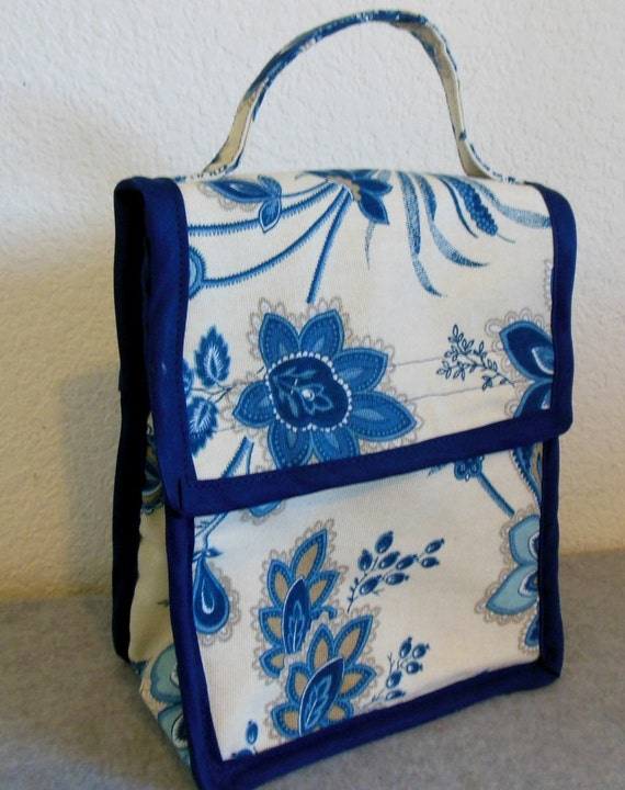 Insulated Lunch Bag Blue Floral Paisley By BonniesSewCrazy