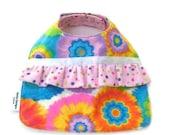 Baby Girl Bib in Tie Dye and Polka Dots with Ruffle