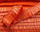 "waxed raffia fringe ribbon red 1"" /25mm 1m"