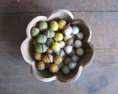 Felted wool acorns, Spring Meadow Mix, wholesale set of 50, green, yellow, and white felt acorns, natural Spring decor, waldorf supply bulk
