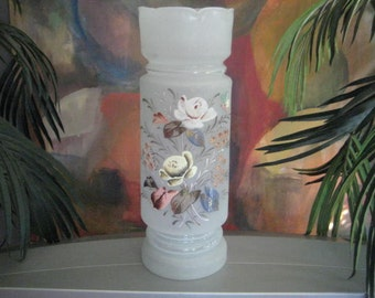 Antique Bristol Vase, 1900s Large Victorian Frosted Translucent White Hand Blown Glass, Hand Painted Floral Design, Home Decor, 12 x 4.5""