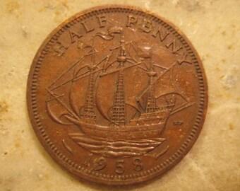 1958 United Kingdom, British Coin, Bronze Half Penny - Elizabeth II