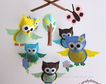 "Baby Mobile - ""Blue and Yellow Neutral Owls"" Nursery Mobile - Baby Boy Crib Mobile - Blue and brown mobile "" (Match your bedding)"
