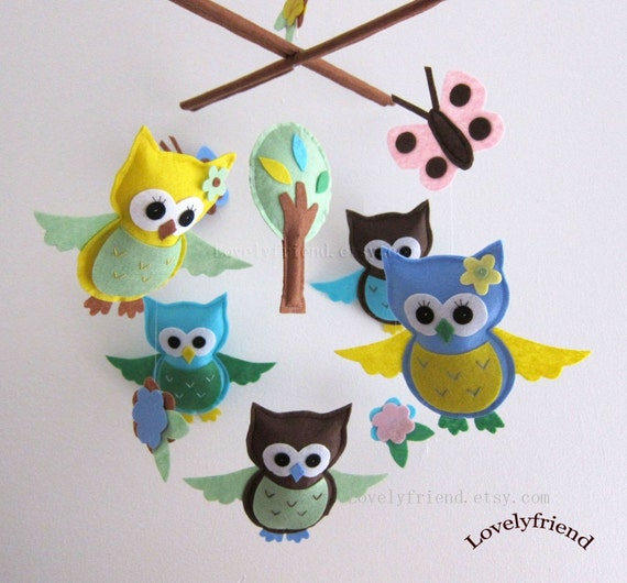 """Baby Mobile - """"Blue and Yellow Neutral Owls"""" Nursery Mobile - Baby Boy Crib Mobile - Blue and brown mobile """" (Match your bedding)"""