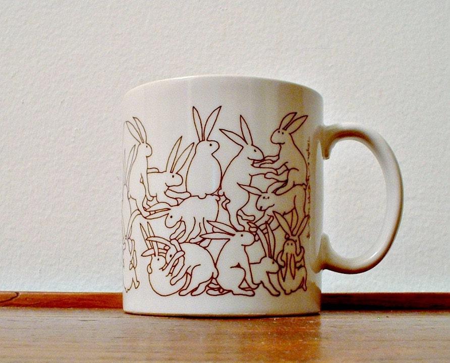 Vintage Taylor & NG Mug Rabbit Orgy Mug Bunny Design Naughty Flamingo Outline