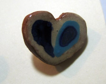 Handmade ceramic buttons -  pair of small blue heart pottery buttons C33