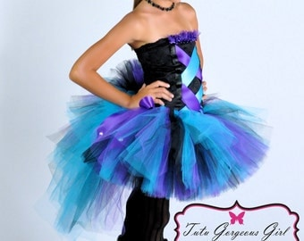 Black Purple Turquoise Bustle Tutu and Corset Inspired Top...Rock Star Costume, Diva Tutu...Toddler, Girls Sizes . . . SO GLAM