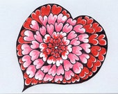 Red Valentine's Day Gift - Valentine Card - Flower Heart - Original Drawing - Handmade Card - Paper Cut Out Heart - Michelebuttons