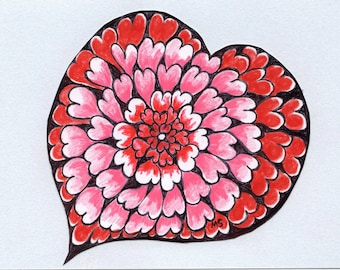 Flower Heart Card - Original Drawing - Handmade Card - Paper Cut Out Heart - Valentine Card - Boyfriend Gift - Red and Pink