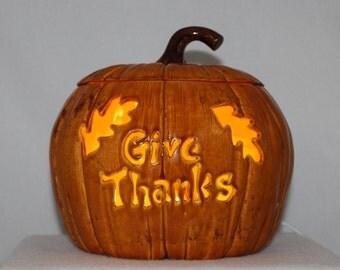 Ceramic Pumpkin w/ light (Handmade) Hand carved (Give Thanks)