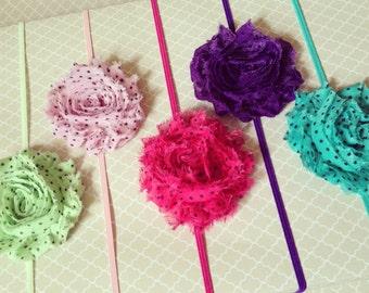 Polka Dot Chiffon Flower Headband:  Shabby Chic Frayed Fabric Rose Skinny Elastic Headband, Choose Your Color & Mounting