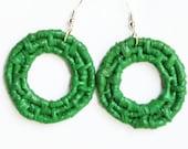 Woven Hoop Earrings -Green Earrings -Raffia Earrings