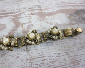 Book Link Bracelet with Faux Pearls