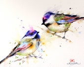 CHICKADEE PAIR Large Watercolor Print by Dean Crouser