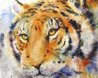 TIGER Watercolor Zoo Animal Print by Dean Crouser
